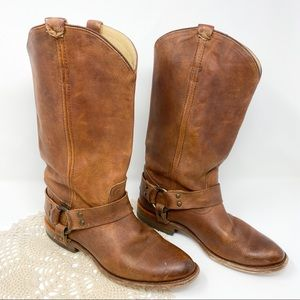 Frye | Brown Leather Wyatt Harness Cowgirl Boots
